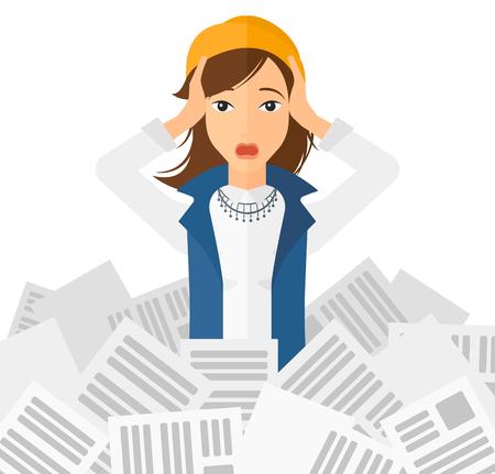Una mujer estresada agarrando la cabeza a causa de tener una gran cantidad de trabajo por hacer con un montón de periódicos en frente de su ilustración vectorial diseño plano aislado en el fondo blanco. Ilustración de vector