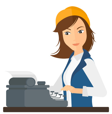 A reporter writing an article on her typewriter vector flat design illustration isolated on white background.