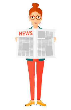 gazette: A happy reporter reading the newspaper with her article vector flat design illustration isolated on white background. Illustration
