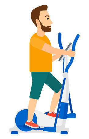 machine man: A man exercising on a elliptical machine vector flat design illustration isolated on white background. Vertical layout.