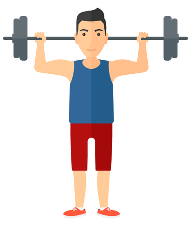 crossbar: A man lifting a barbell vector flat design illustration isolated on white background. Vertical layout.