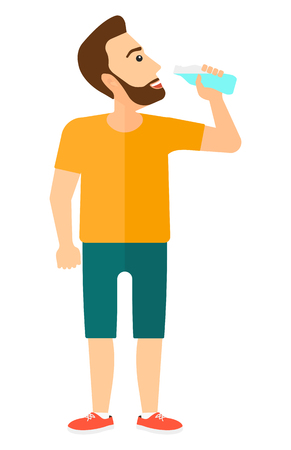 nutritious: A sportive man drinking water vector flat design illustration isolated on white background. Vertical layout.