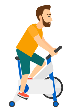cardiovascular exercising: A hipster man with the beard exercising on stationary training bicycle vector flat design illustration isolated on white background. Vertical layout.