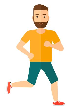 healthy men: A sportive hipster man with the beard jogging vector flat design illustration isolated on white background. Vertical layout.