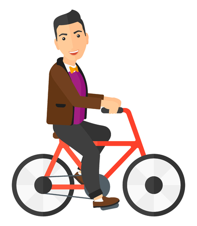 A happy man riding a bicycle vector flat design illustration isolated on white background. Vertical layout.