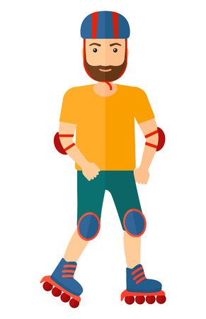 rollerblade: A sporty man on the rollerblades having roller skate exercise  vector flat design illustration isolated on white background. Vertical layout. Illustration