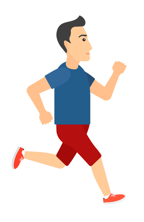 sportive: A sportive man jogging vector flat design illustration isolated on white background. Vertical layout.