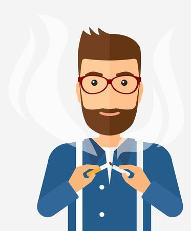 warning against a white background: A happy hipster man breaking the cigarette vector flat design illustration isolated on white background. Vertical layout. Illustration