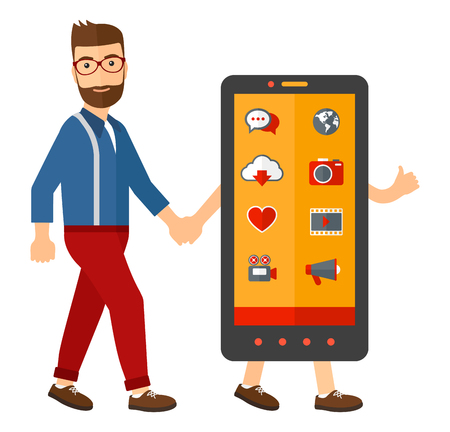 communication devices: A man walking with a big smartphone vector flat design illustration isolated on white background. Square layout.