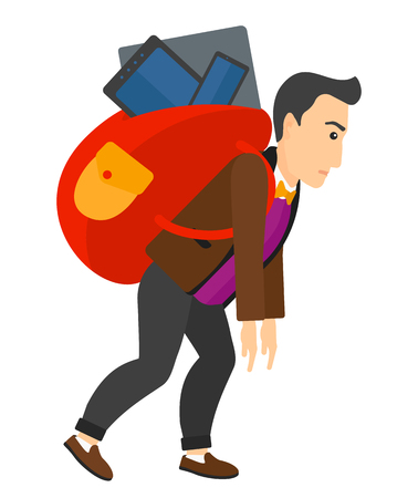 cary: A sad man walking with a big backpack full of different devices