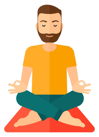 A man meditating in lotus pose flat design illustration isolated on white background.