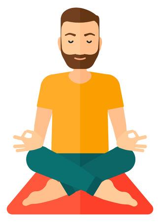 elasticidad: Un hombre meditando en posici�n de loto ilustraci�n dise�o plano aislado en el fondo blanco. Vectores