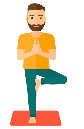 man meditating: Man standing in yoga tree pose vector flat design illustration isolated on white background. Vertical layout.