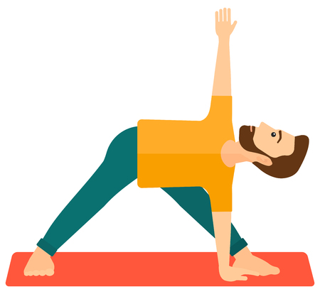 poses: A man meditating in yoga triangle pose vector flat design illustration isolated on white background.