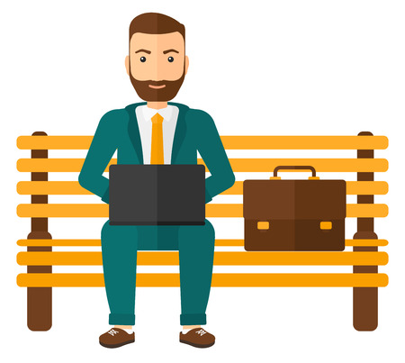 laptop outside: A hipster man sitting on a bench and working on a laptop vector flat design illustration isolated on white background.