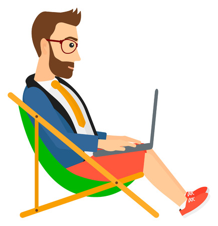 chaise lounge: A hipster businessman sitting in chaise lounge with laptop vector flat design illustration isolated on white background.
