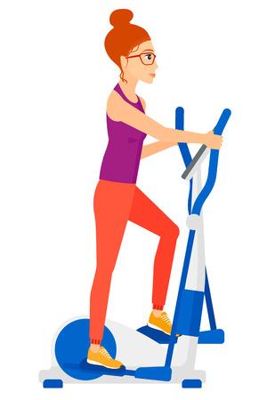 A woman exercising on a elliptical machine  Illustration
