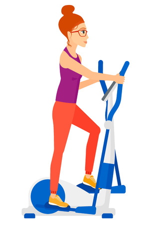 cartoon body: A woman exercising on a elliptical machine  Illustration
