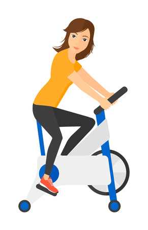 stationary bicycle: A woman exercising on stationary training bicycle vector flat design illustration isolated on white background.