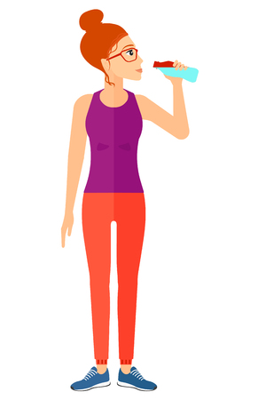 man exercise: A sportive woman drinking water flat design illustration isolated on white background.