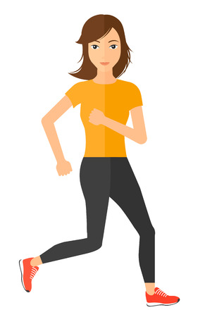 sportive: A sportive woman jogging vector flat design illustration isolated on white background. Vertical layout.