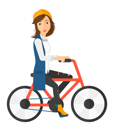 A happy woman riding a bicycle vector flat design illustration isolated on white background.
