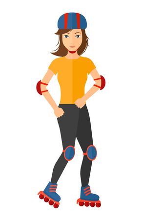rollerblading: A sporty woman on the roller blades having roller skate exercise flat design illustration isolated on white background.
