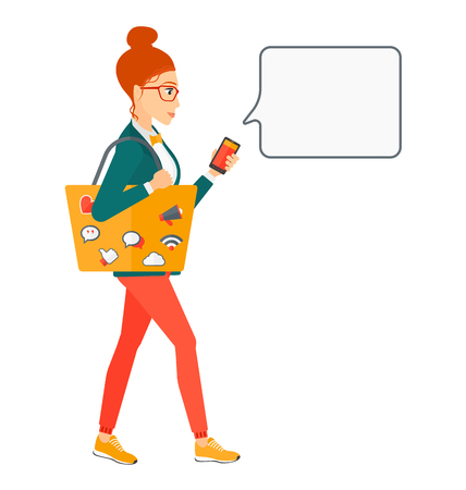smart phone woman: A woman walking with a bag full of social media icons and holding a smartphone in hand vector flat design illustration isolated on white background.