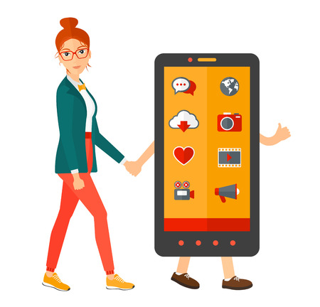 holding smart phone: A woman walking with a big smartphone vector flat design illustration isolated on white background. Square layout.