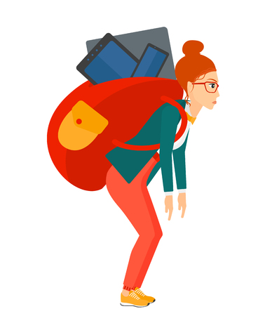 big woman: A sad woman walking with a big backpack full of different devices