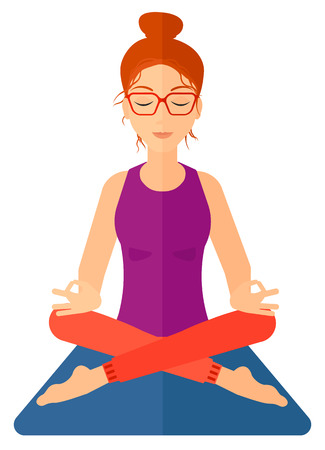 elasticity: A woman meditating in lotus pose vector flat design illustration isolated on white background. Vertical layout. Illustration