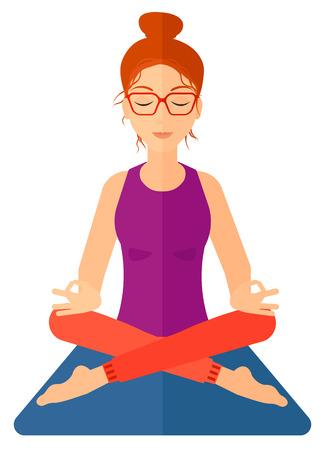 A woman meditating in lotus pose vector flat design illustration isolated on white background. Vertical layout. Ilustração