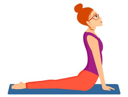 man exercise: A woman practicing yoga upward dog pose vector flat design illustration isolated on white background. Horizontal layout.