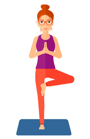 A woman standing in yoga tree pose vector flat design illustration isolated on white background. Vertical layout.