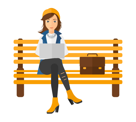 laptop outside: A woman sitting on a bench and working on a laptop vector flat design illustration isolated on white background. Square layout.