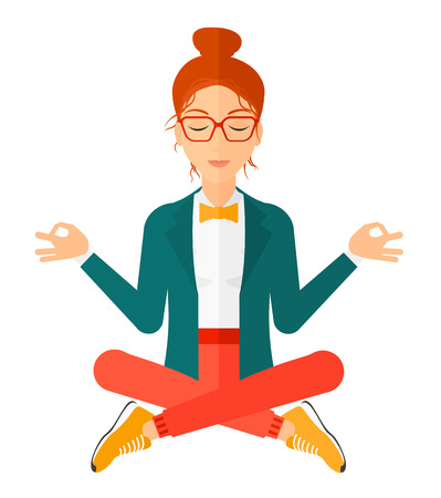 man meditating: A business woman meditating in lotus pose vector flat design illustration isolated on white background. Square layout.