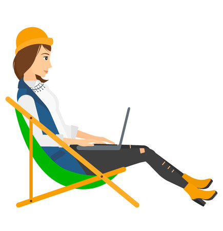 wireless communication: A business woman sitting in chaise lounge with laptop vector flat design illustration isolated on white background. Square layout.
