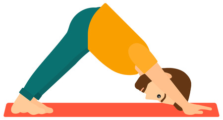 downward: A man standing in yoga downward facing dog pose vector flat design illustration isolated on white background. Horizontal layout.