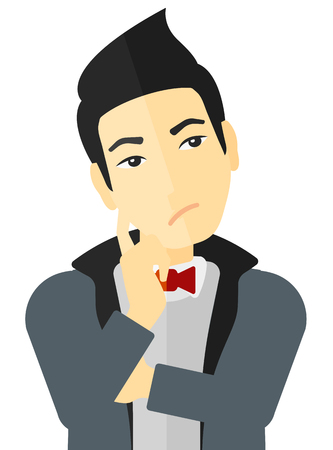 hesitate: Doubtful young man vector flat design illustration isolated on white background. Illustration