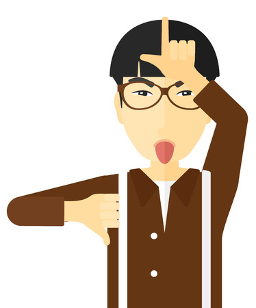 insult: Contemptuous man sticking out his tongue and showing thumb down sign vector flat design illustration isolated on white background.