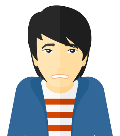 Embarrassed asian man vector flat design illustration isolated on white background. Illustration