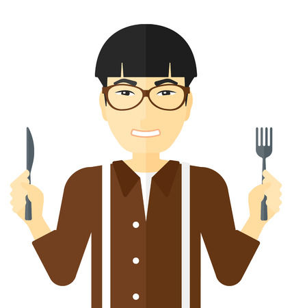impatient: Hungry man with fork and knife raised vector flat design illustration isolated on white background.