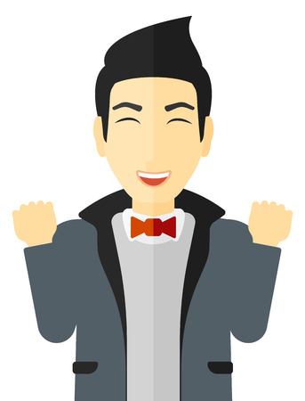 Cheerful man in euphoria with raised hands and closed eyes vector flat design illustration isolated on white background. Ilustração