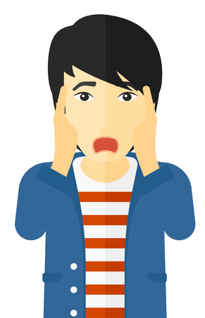unexpectedness: Scared man with open mouth vector flat design illustration isolated on white background.