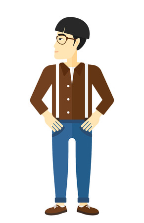 prideful: Young man proud of himself vector flat design illustration isolated on white background. Illustration