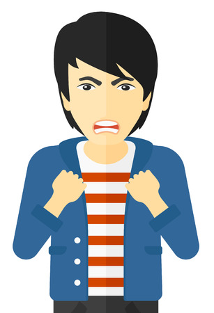 Raging man screaming with clenched fists vector flat design illustration isolated on white background. Illusztráció