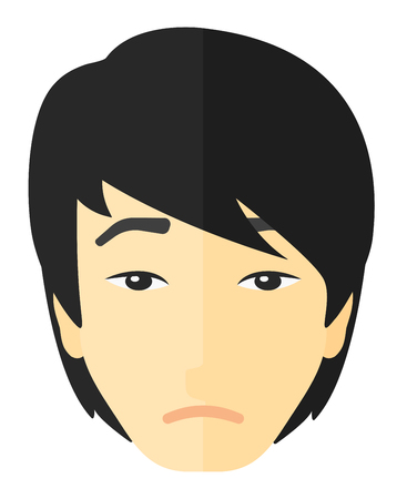 misery: Young depressed man vector flat design illustration isolated on white background.