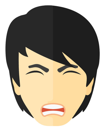 aggressive: Screaming aggressive man vector flat design illustration isolated on white background.