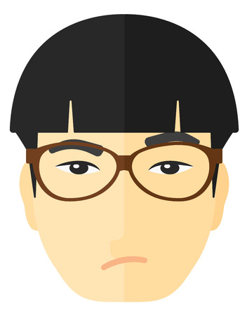 scheming: Envious man in glasses vector flat design illustration isolated on white background.
