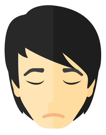 grieving: Grieving man with eyes closed vector flat design illustration isolated on white background. Illustration